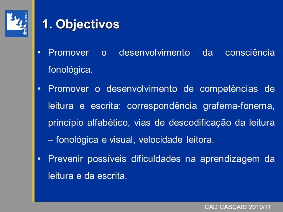 CAD CASCAIS 2007/08 1º ano – Nível II – (10/11) Rima1 Reconstrução e Segmentação Silábicas 1 Manipulação Silábica1 Evocação Silábica1 Reconstrução Fonémica1 Evocação Fonémica1 Segmentação Fonémica1 Manipulação Fonémica1 Programas de Consciência Fonológica Pré-Escolar – Nível I – (09/10) Letra, Número e Palavra1 Palavra, Frase e Texto1 Rima1 Discriminação Auditiva1 Reconstrução Silábica1 Segmentação e Contagem Silábicas 1 Manipulação Silábica1 Reconstrução Fonémica1 Segmentação e Contagem Fonémicas 1 Manipulação Fonémica1 CAD CASCAIS 2010/11