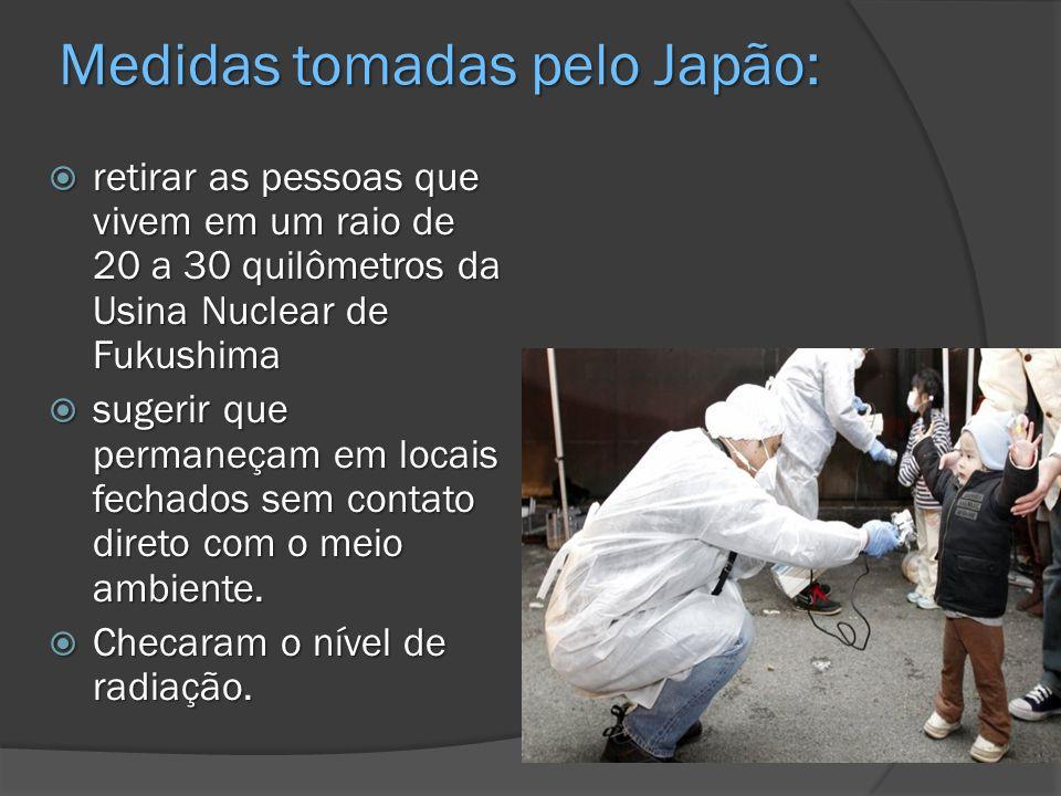 Medidas tomadas pelo Japão: retirar as pessoas que vivem em um raio de 20 a 30 quilômetros da Usina Nuclear de Fukushima retirar as pessoas que vivem