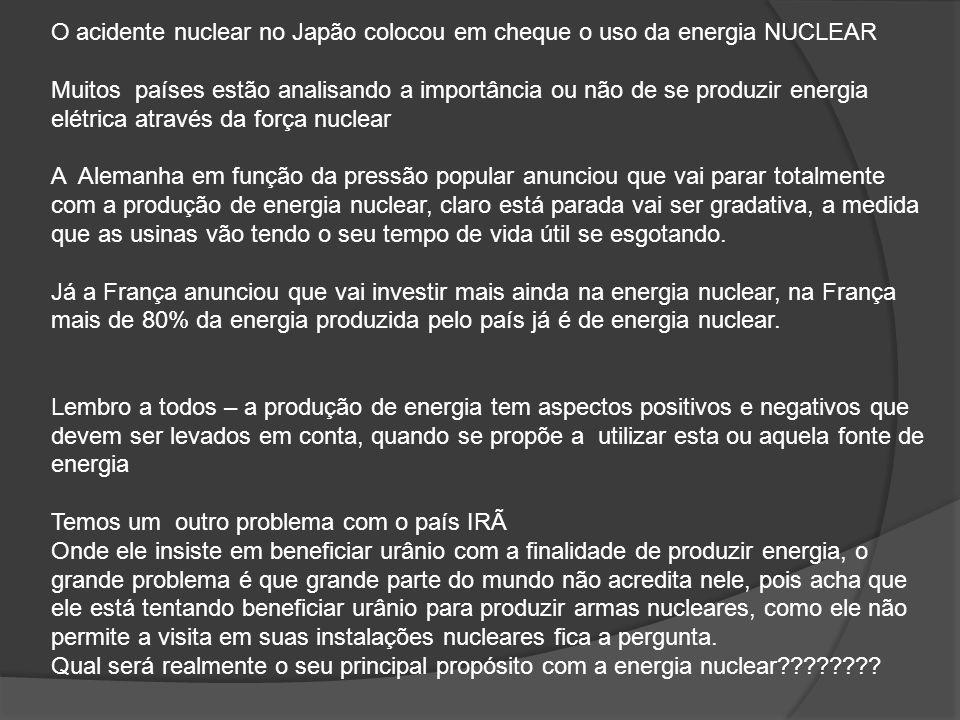 O acidente nuclear no Japão colocou em cheque o uso da energia NUCLEAR Muitos países estão analisando a importância ou não de se produzir energia elét
