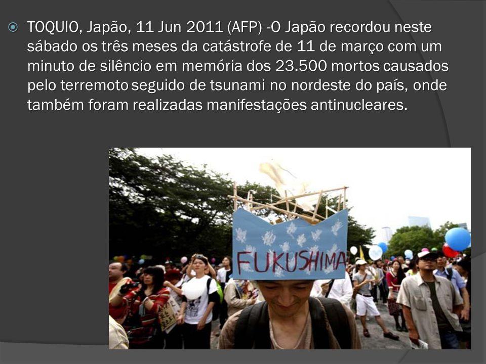 TOQUIO, Japão, 11 Jun 2011 (AFP) -O Japão recordou neste sábado os três meses da catástrofe de 11 de março com um minuto de silêncio em memória dos 23