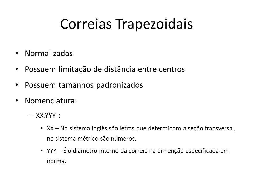Correias Trapezoidais Normalizadas Possuem limitação de distância entre centros Possuem tamanhos padronizados Nomenclatura: – XX.YYY : XX – No sistema