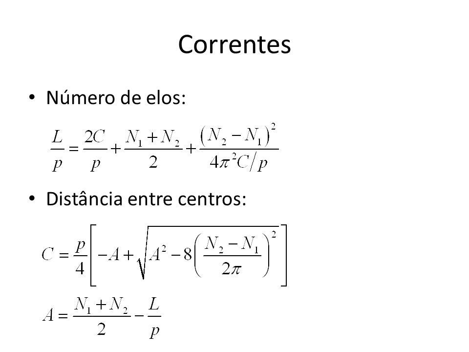 Correntes Número de elos: Distância entre centros: