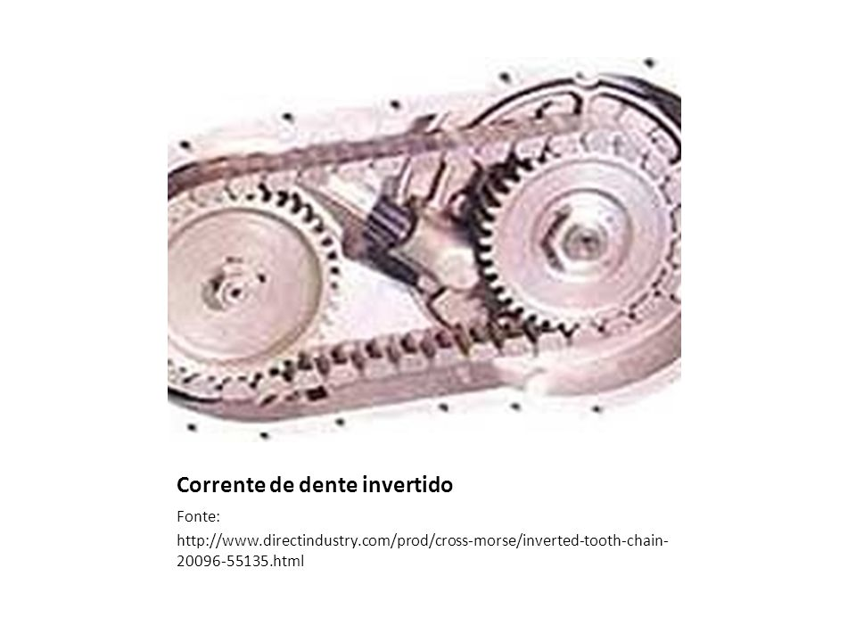 Corrente de dente invertido Fonte: http://www.directindustry.com/prod/cross-morse/inverted-tooth-chain- 20096-55135.html
