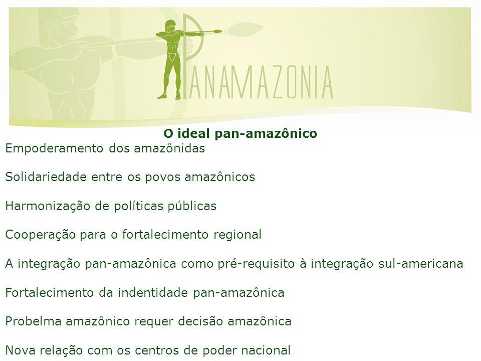 O ideal pan-amazônico Empoderamento dos amazônidas Solidariedade entre os povos amazônicos Harmonização de políticas públicas Cooperação para o fortalecimento regional A integração pan-amazônica como pré-requisito à integração sul-americana Fortalecimento da indentidade pan-amazônica Probelma amazônico requer decisão amazônica Nova relação com os centros de poder nacional