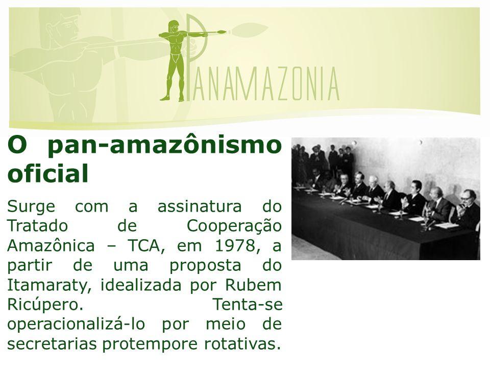 O pan-amazônismo oficial Surge com a assinatura do Tratado de Cooperação Amazônica – TCA, em 1978, a partir de uma proposta do Itamaraty, idealizada por Rubem Ricúpero.