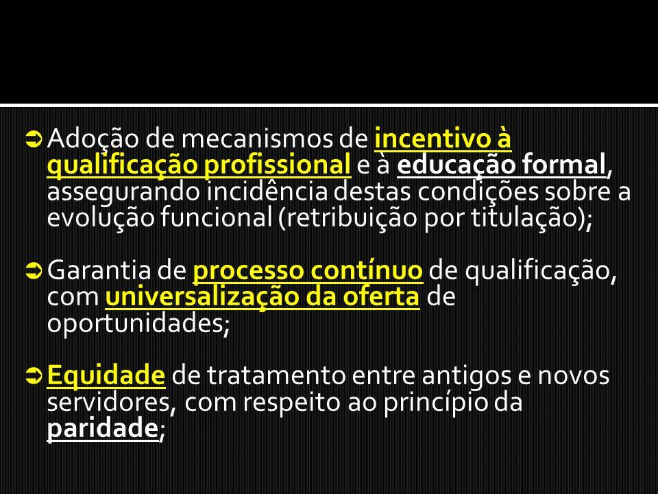 Adoção de mecanismos de incentivo à qualificação profissional e à educação formal, assegurando incidência destas condições sobre a evolução funcional