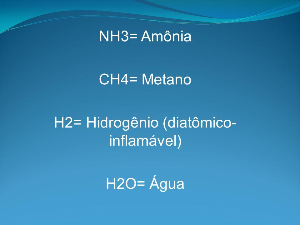 NH3= Amônia CH4= Metano H2= Hidrogênio (diatômico- inflamável) H2O= Água