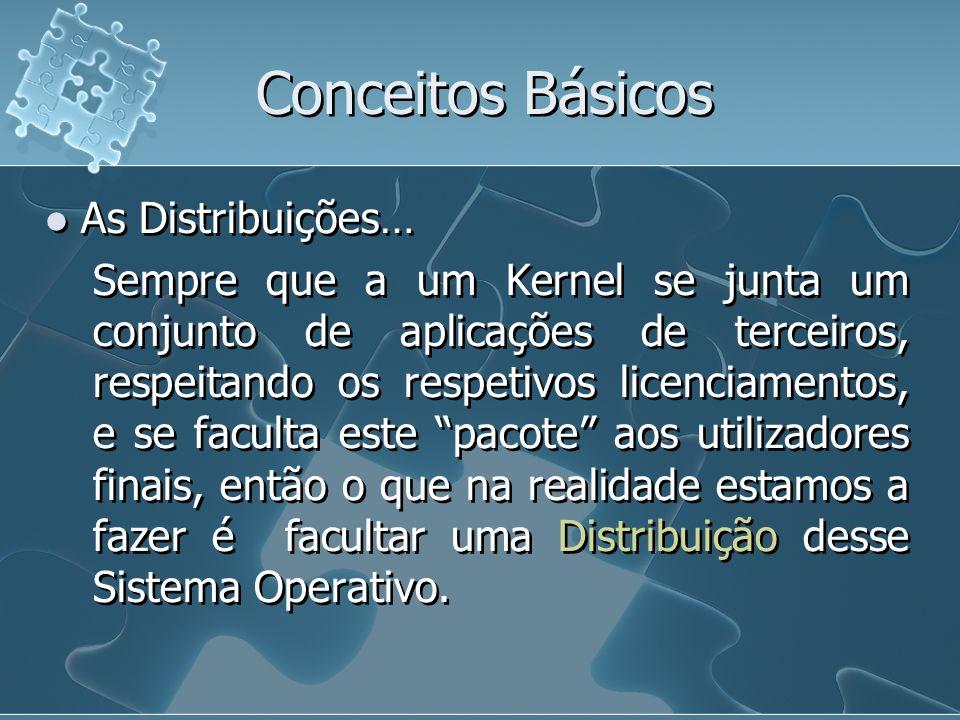 Conceitos Básicos As Distribuições… Sempre que a um Kernel se junta um conjunto de aplicações de terceiros, respeitando os respetivos licenciamentos,