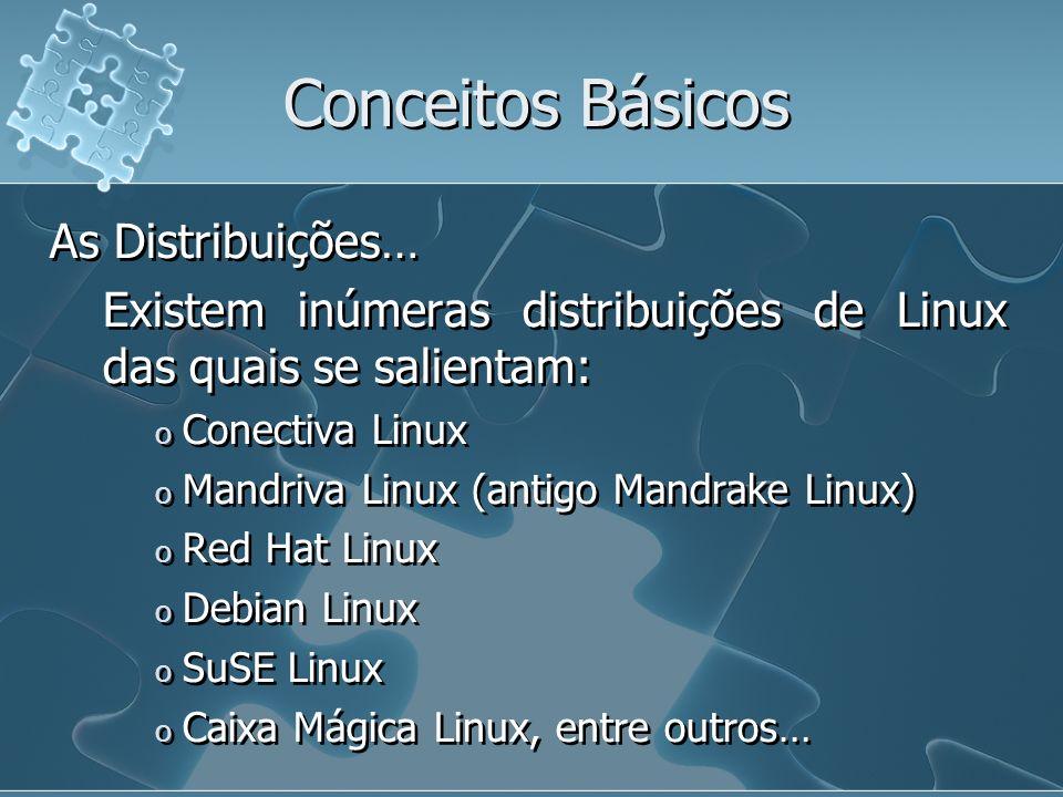 Conceitos Básicos As Distribuições… Existem inúmeras distribuições de Linux das quais se salientam: o Conectiva Linux o Mandriva Linux (antigo Mandrak