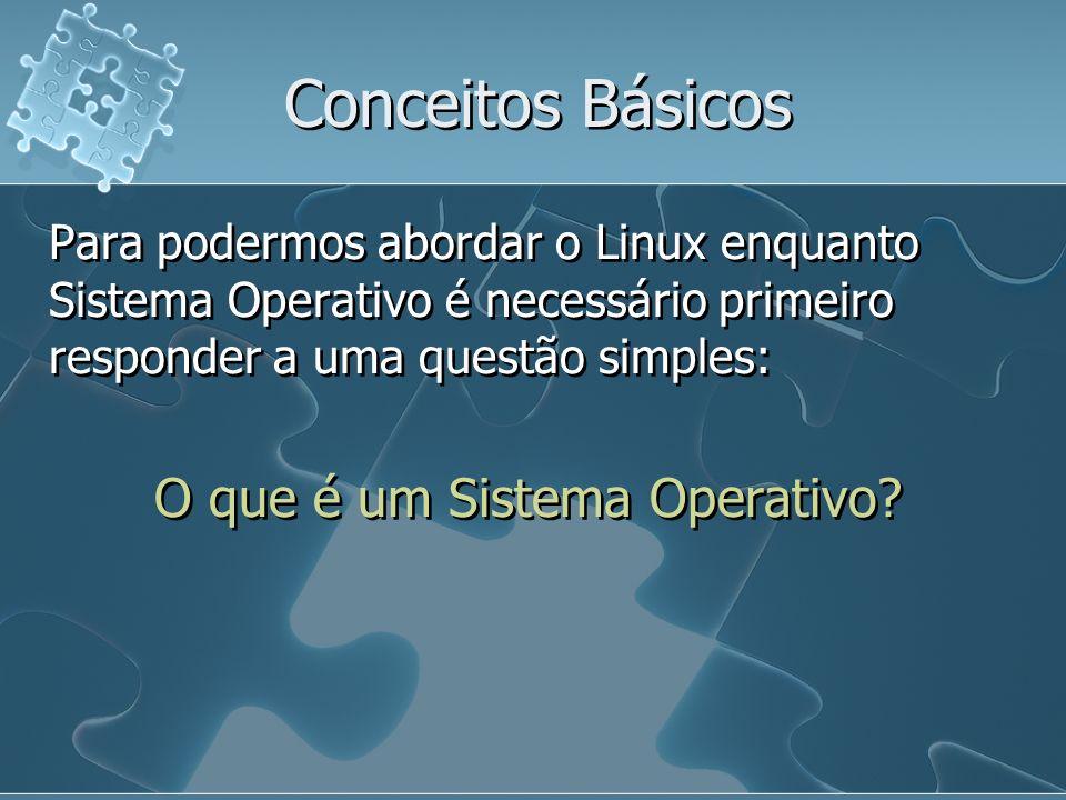 Conceitos Básicos Para podermos abordar o Linux enquanto Sistema Operativo é necessário primeiro responder a uma questão simples: O que é um Sistema O