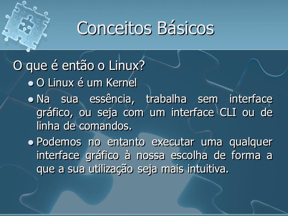 Conceitos Básicos O que é então o Linux? O Linux é um Kernel Na sua essência, trabalha sem interface gráfico, ou seja com um interface CLI ou de linha