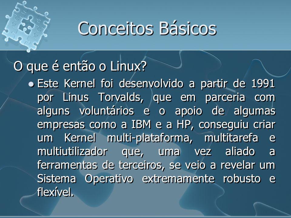 Conceitos Básicos O que é então o Linux? Este Kernel foi desenvolvido a partir de 1991 por Linus Torvalds, que em parceria com alguns voluntários e o