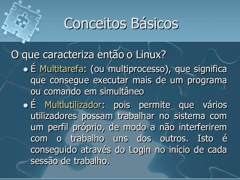 Conceitos Básicos O que caracteriza então o Linux? É Multitarefa: (ou multiprocesso), que significa que consegue executar mais de um programa ou coman