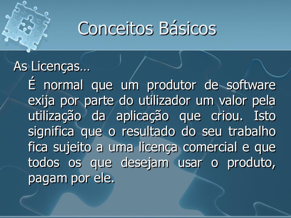 Conceitos Básicos As Licenças… É normal que um produtor de software exija por parte do utilizador um valor pela utilização da aplicação que criou. Ist