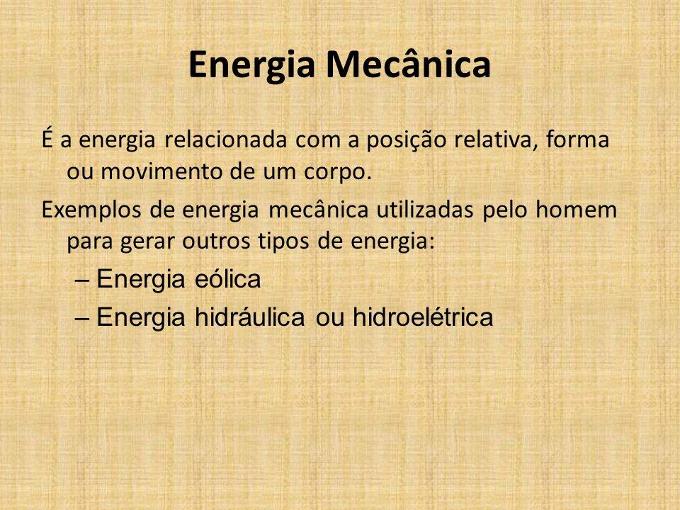 Tipos de Energia Energia radiante – Energia das ondas eletromagnéticas: luz, infravermelho, ondas de rádio, raios-x, raios gama Energia nuclear – Ener
