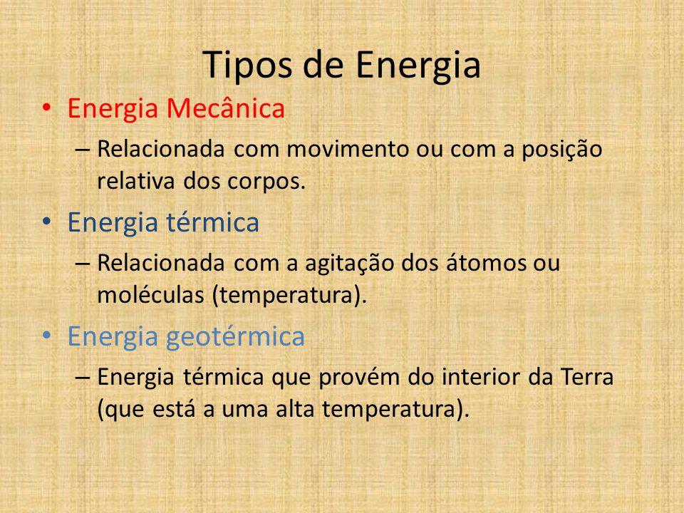 UM OLHAR DA FÍSICA Os tipos de energia