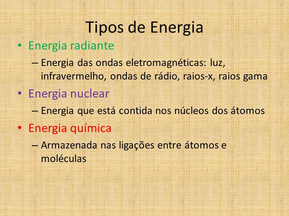 Tipos de Energia Energia Mecânica – Relacionada com movimento ou com a posição relativa dos corpos. Energia térmica – Relacionada com a agitação dos á