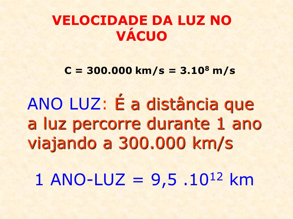 É a distância que a luz percorre durante 1 ano viajando a 300.000 km/s ANO LUZ: É a distância que a luz percorre durante 1 ano viajando a 300.000 km/s 1 ANO-LUZ = 9,5.10 12 km VELOCIDADE DA LUZ NO VÁCUO C = 300.000 km/s = 3.10 8 m/s
