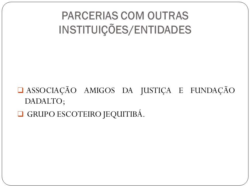 PARCERIAS COM OUTRAS INSTITUIÇÕES/ENTIDADES ASSOCIAÇÃO AMIGOS DA JUSTIÇA E FUNDAÇÃO DADALTO; GRUPO ESCOTEIRO JEQUITIBÁ.