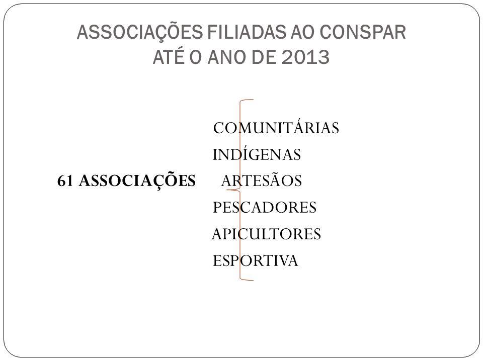 ASSOCIAÇÕES FILIADAS AO CONSPAR ATÉ O ANO DE 2013 COMUNITÁRIAS INDÍGENAS 61 ASSOCIAÇÕES ARTESÃOS PESCADORES APICULTORES ESPORTIVA