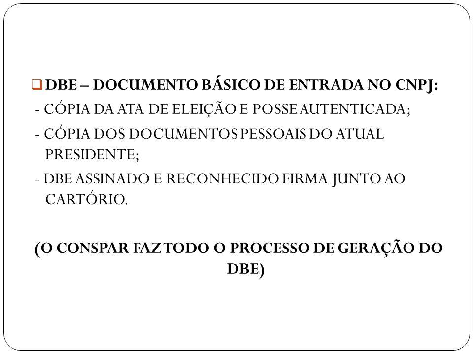 DBE – DOCUMENTO BÁSICO DE ENTRADA NO CNPJ: - CÓPIA DA ATA DE ELEIÇÃO E POSSE AUTENTICADA; - CÓPIA DOS DOCUMENTOS PESSOAIS DO ATUAL PRESIDENTE; - DBE A