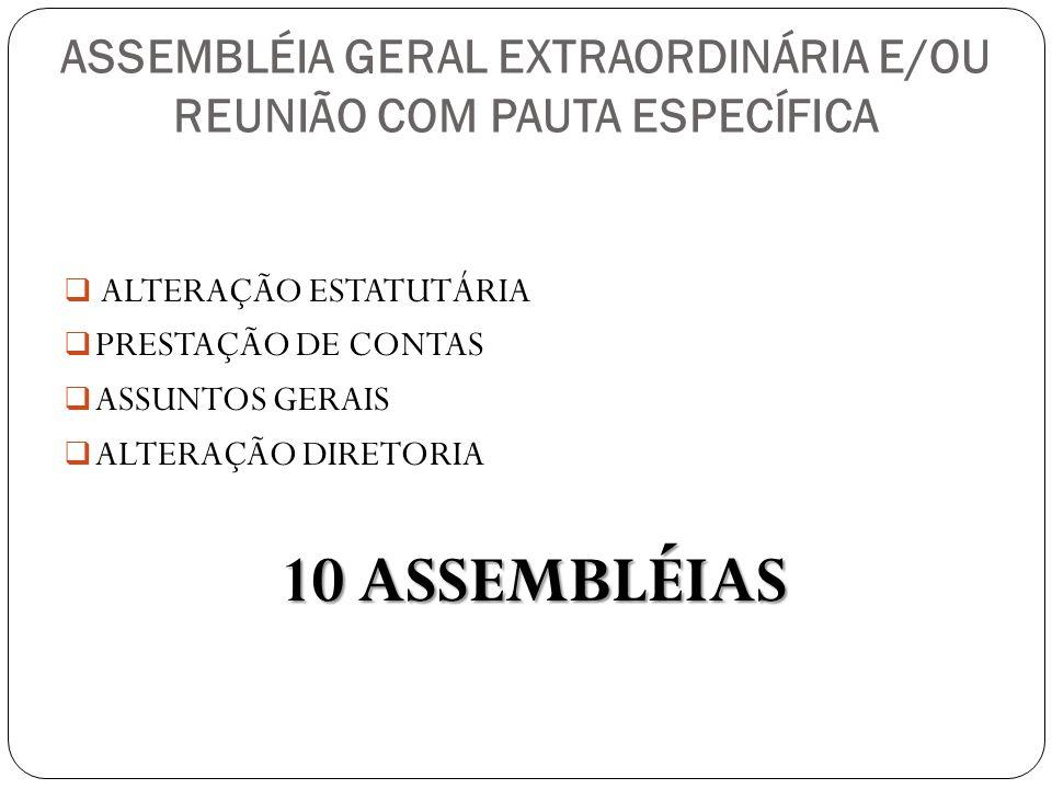 ASSEMBLÉIA GERAL EXTRAORDINÁRIA E/OU REUNIÃO COM PAUTA ESPECÍFICA ALTERAÇÃO ESTATUTÁRIA PRESTAÇÃO DE CONTAS ASSUNTOS GERAIS ALTERAÇÃO DIRETORIA 10 ASS
