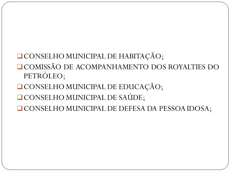 CONSELHO MUNICIPAL DE HABITAÇÃO; COMISSÃO DE ACOMPANHAMENTO DOS ROYALTIES DO PETRÓLEO; CONSELHO MUNICIPAL DE EDUCAÇÃO; CONSELHO MUNICIPAL DE SAÚDE; CO