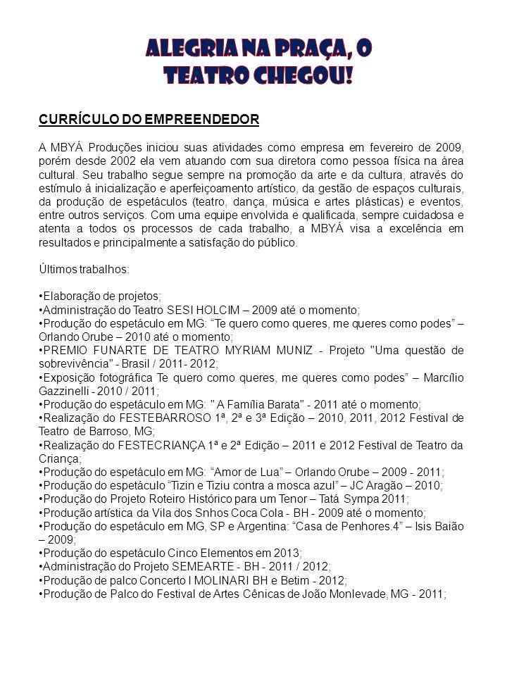 CURRÍCULO DO EMPREENDEDOR A MBYÁ Produções iniciou suas atividades como empresa em fevereiro de 2009, porém desde 2002 ela vem atuando com sua diretor