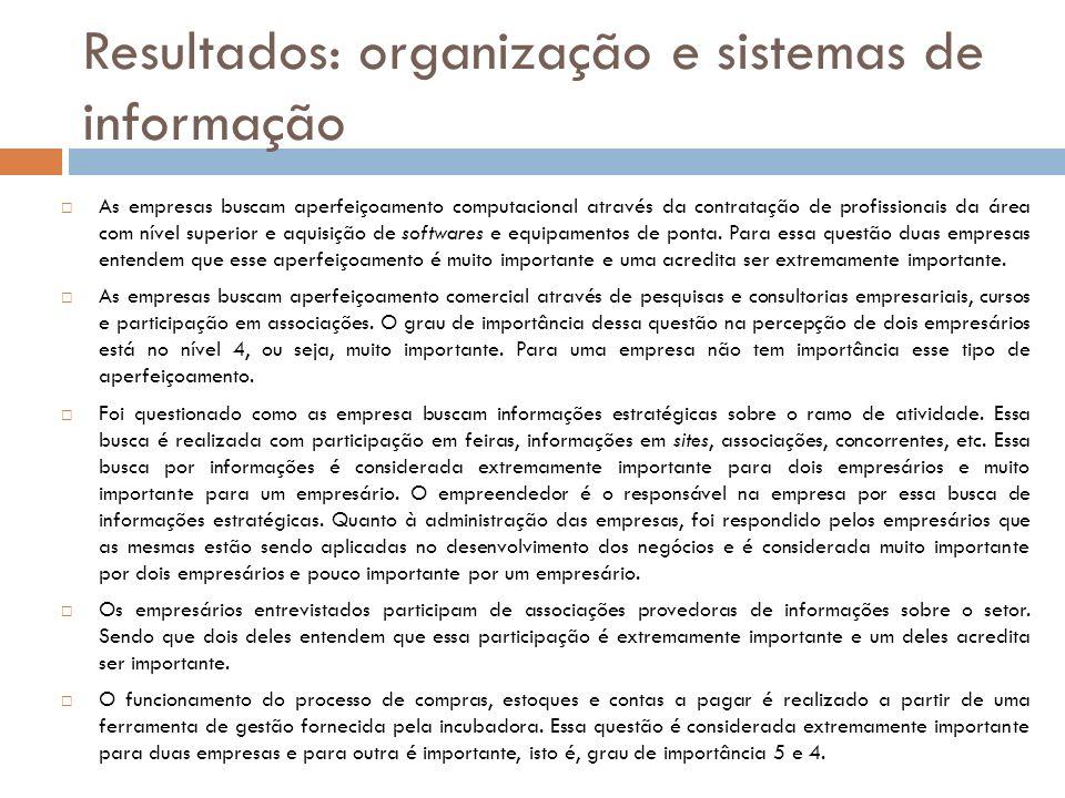 Resultados: organização e sistemas de informação As empresas buscam aperfeiçoamento computacional através da contratação de profissionais da área com