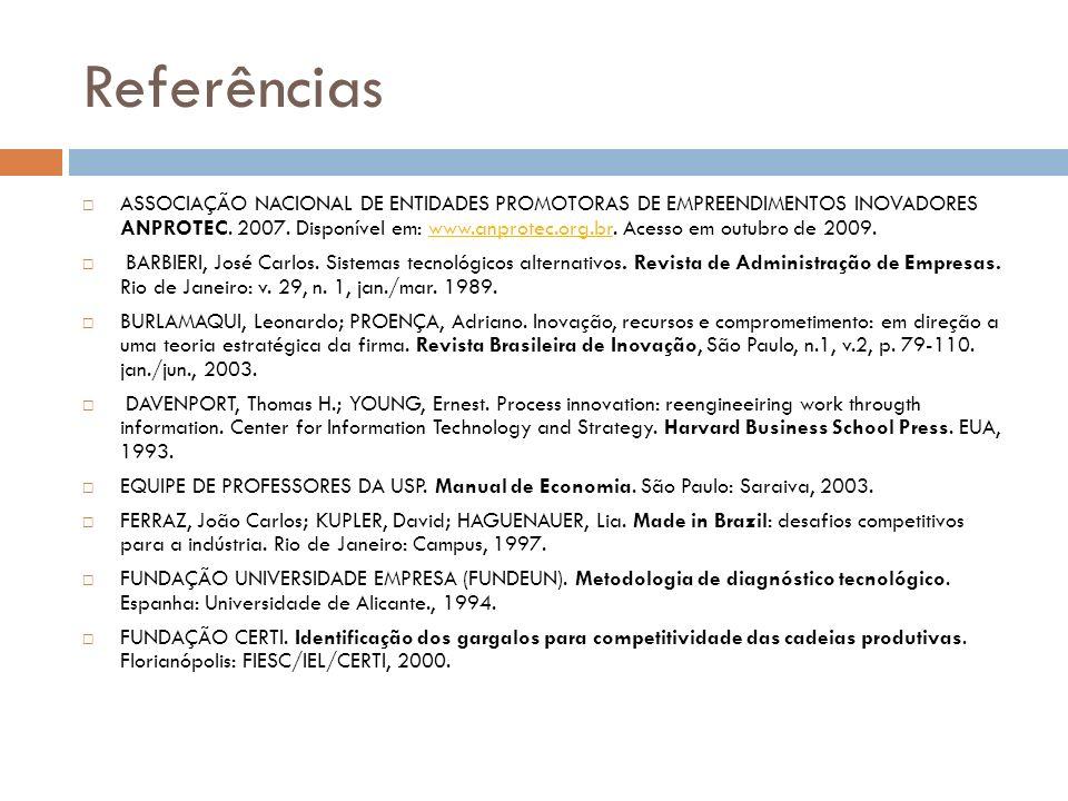 Referências ASSOCIAÇÃO NACIONAL DE ENTIDADES PROMOTORAS DE EMPREENDIMENTOS INOVADORES ANPROTEC. 2007. Disponível em: www.anprotec.org.br. Acesso em ou
