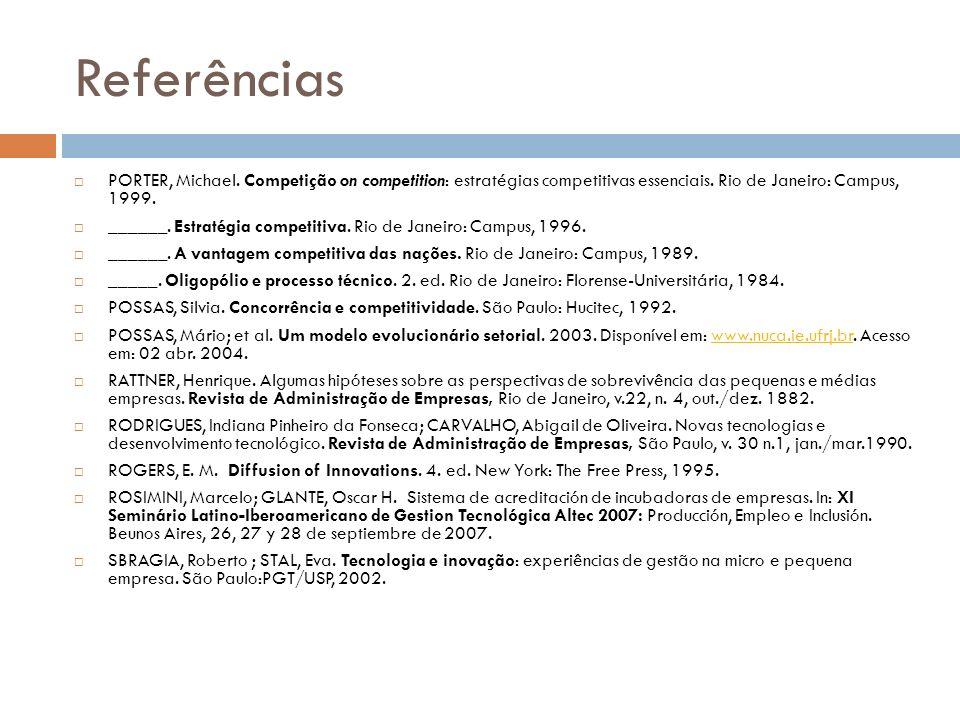 Referências PORTER, Michael. Competição on competition: estratégias competitivas essenciais. Rio de Janeiro: Campus, 1999. ______. Estratégia competit