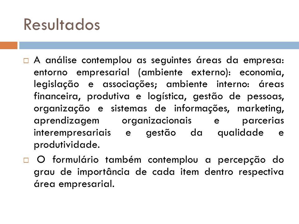 Resultados A análise contemplou as seguintes áreas da empresa: entorno empresarial (ambiente externo): economia, legislação e associações; ambiente in