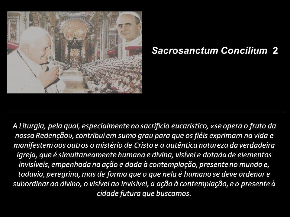 A Liturgia, pela qual, especialmente no sacrifício eucarístico, «se opera o fruto da nossa Redenção», contribui em sumo grau para que os fiéis exprima
