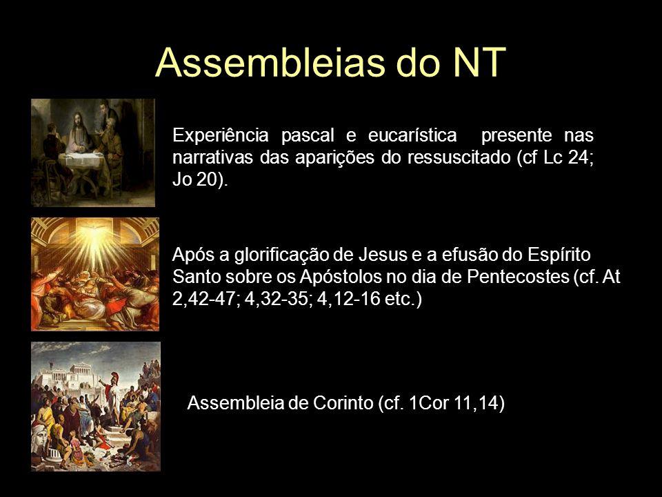 Assembleias do NT Experiência pascal e eucarística presente nas narrativas das aparições do ressuscitado (cf Lc 24; Jo 20). Após a glorificação de Jes