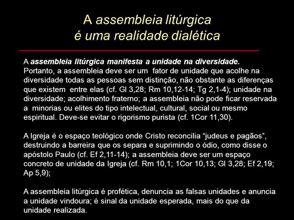 A assembleia litúrgica é uma realidade dialética _________________________________ A assembleia litúrgica manifesta a unidade na diversidade. Portanto