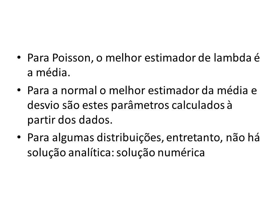 Para Poisson, o melhor estimador de lambda é a média. Para a normal o melhor estimador da média e desvio são estes parâmetros calculados à partir dos