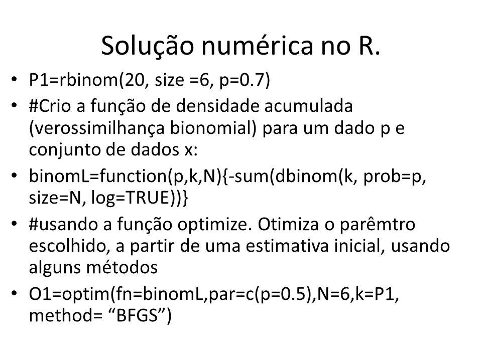 Solução numérica no R. P1=rbinom(20, size =6, p=0.7) #Crio a função de densidade acumulada (verossimilhança bionomial) para um dado p e conjunto de da