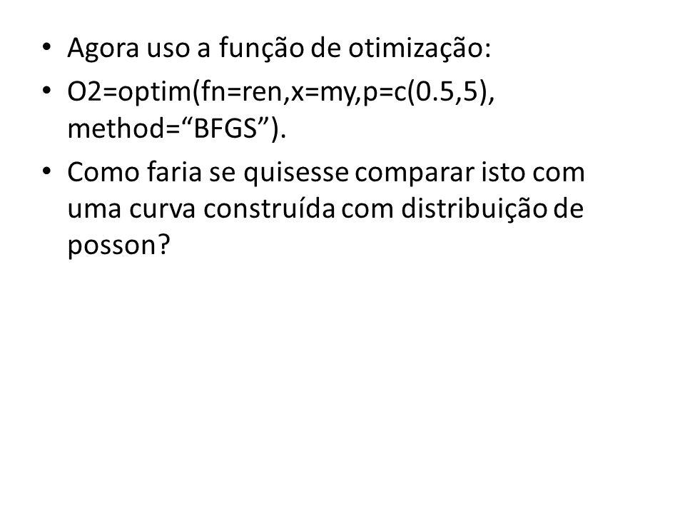 Agora uso a função de otimização: O2=optim(fn=ren,x=my,p=c(0.5,5), method=BFGS).