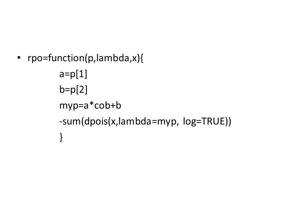 rpo=function(p,lambda,x){ a=p[1] b=p[2] myp=a*cob+b -sum(dpois(x,lambda=myp, log=TRUE)) }