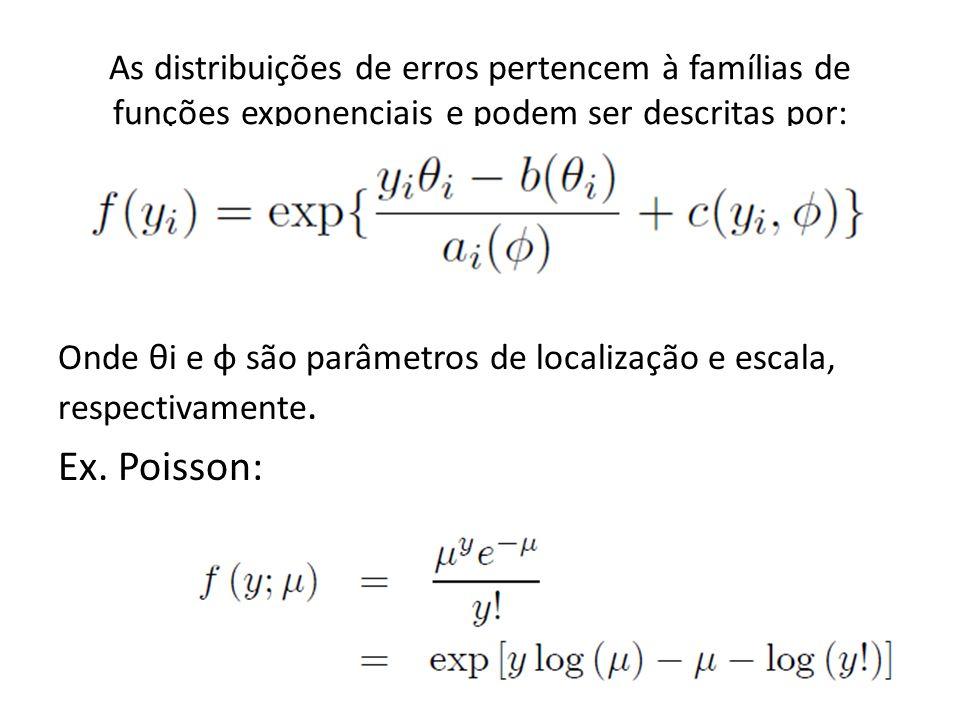 As distribuições de erros pertencem à famílias de funções exponenciais e podem ser descritas por: Onde θi e φ são parâmetros de localização e escala,