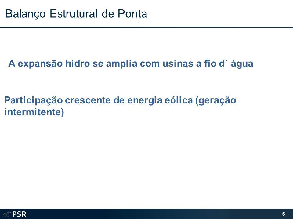 6 Balanço Estrutural de Ponta A expansão hidro se amplia com usinas a fio d´ água Participação crescente de energia eólica (geração intermitente)