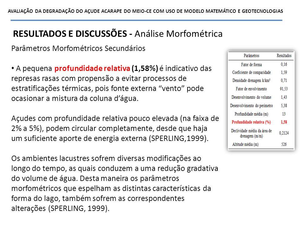 Parâmetros Morfométricos Secundários A pequena profundidade relativa (1,58%) é indicativo das represas rasas com propensão a evitar processos de estra