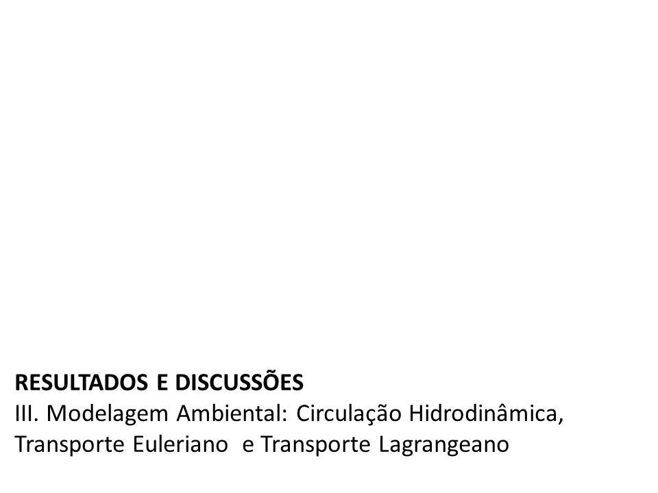 RESULTADOS E DISCUSSÕES III. Modelagem Ambiental: Circulação Hidrodinâmica, Transporte Euleriano e Transporte Lagrangeano