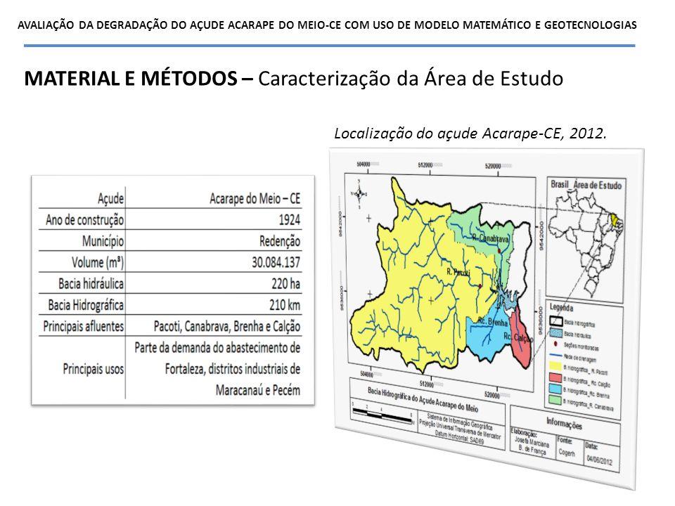 MATERIAL E MÉTODOS – Caracterização da Área de Estudo Localização do açude Acarape-CE, 2012. AVALIAÇÃO DA DEGRADAÇÃO DO AÇUDE ACARAPE DO MEIO-CE COM U