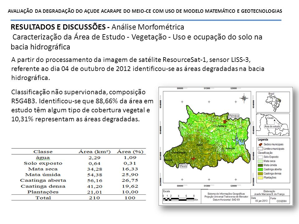 RESULTADOS E DISCUSSÕES - Análise Morfométrica Caracterização da Área de Estudo - Vegetação - Uso e ocupação do solo na bacia hidrográfica A partir do