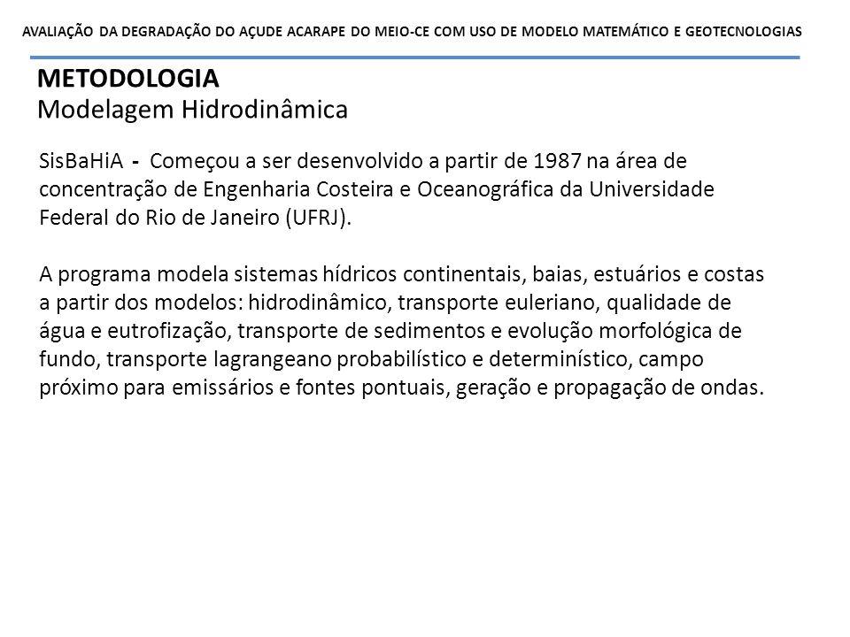 METODOLOGIA Modelagem Hidrodinâmica – Dados de entrada no modelo Batimetria Realizada de 28m em maio de 2011.