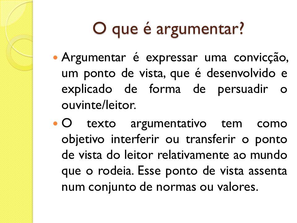 Características do texto argumentativo A linguagem tende à impessoalidade; são empregados verbos e pronomes na 3ª pessoa do singular; predomínio da variedade padrão.