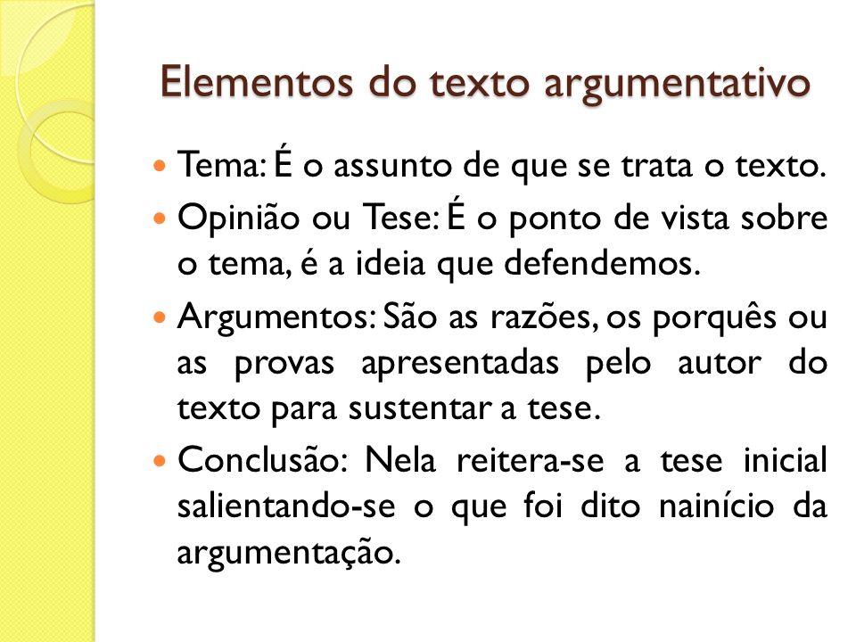 Estrutura do texto argumentativo O texto argumentativo, geralmente, divide-se da seguinte forma: 1º parágrafo: introdução (tema e tese); 2º e 3º parágrafos: desenvolvimento (argumentos que explicam e fundamentam a tese); 4º parágrafo: conclusão (reafirmar tese, dar solução viável)