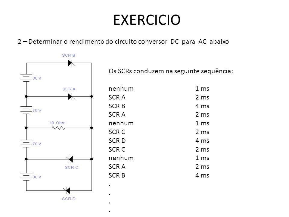 EXERCICIO 2 – Determinar o rendimento do circuito conversor DC para AC abaixo Os SCRs conduzem na seguinte sequência: nenhum1 ms SCR A2 ms SCR B4 ms S