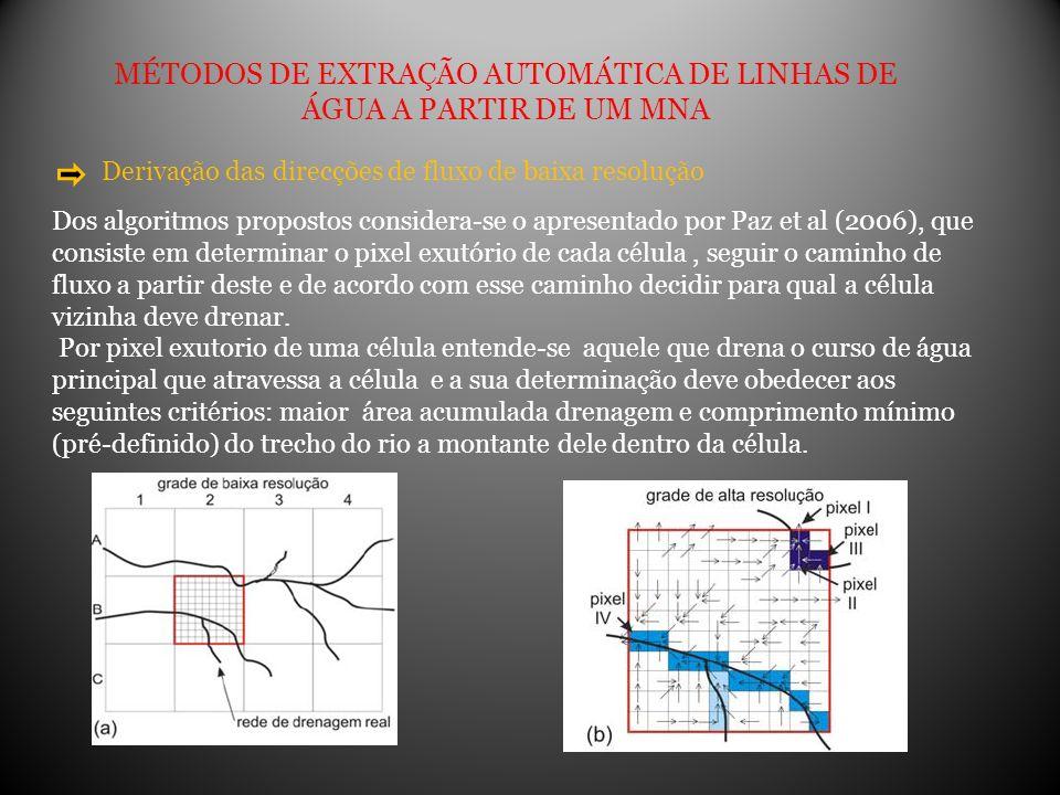 MÉTODOS DE EXTRAÇÃO AUTOMÁTICA DE LINHAS DE ÁGUA A PARTIR DE UM MNA Derivação das direcções de fluxo de baixa resolução Dos algoritmos propostos consi